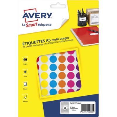 Pastilles adhésives Avery - diamètre 15 mm - imprimables - coloris assortis - sachet de 672