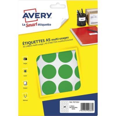 Pastilles adhésives Avery - diamètre 30 mm - imprimables - vert - sachet de 240