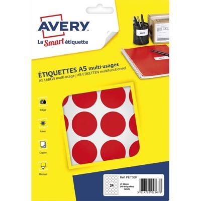 Pastilles adhésives Avery - diamètre 30 mm - imprimables - rouge - sachet de 240