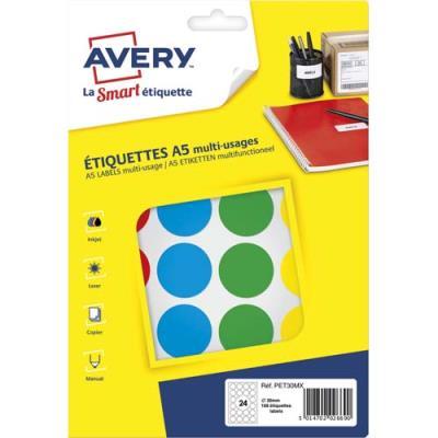Pastilles adhésives Avery - diamètre 30 mm - imprimables - coloris assortis - sachet de 168