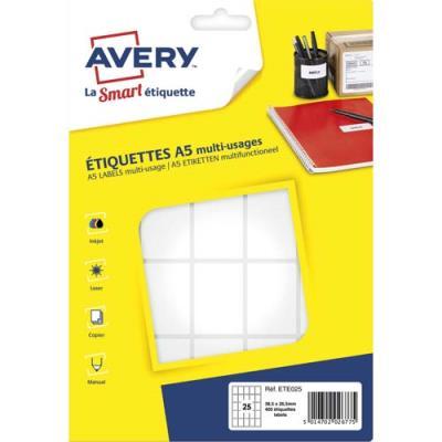 Etiquettes multi-usage Avery ETE025 - blanc - 38,5 x 26,5 mm - planche format A5 - sachet de 400