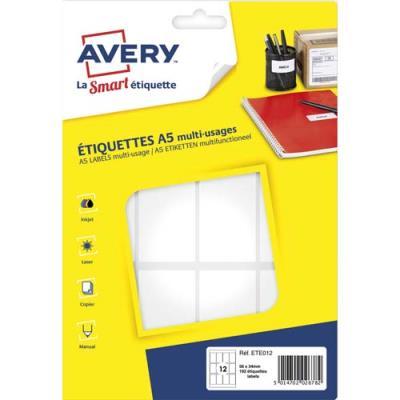 Sachet de 192 étiquettes multi usage avery ete012 blanches 56 x 34 mm planche format a5