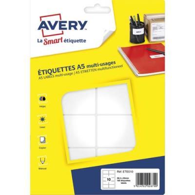 Etiquettes multi-usage Avery ETE010 - 38,5 x 65 mm - blanc - planche format A5 - sachet de 160