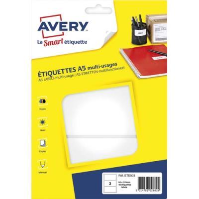 Etiquettes multi-usage Avery ETE003 - blanc - 64 x 133 mm - planche format A5 - sachet de 48