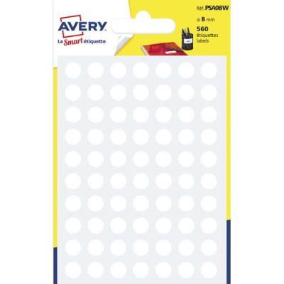 Pastilles adhésives Avery - diamètre 8 mm - pour écriture manuelle - blanc - sachet de 560