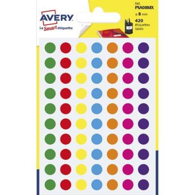Pastilles adhésives Avery - diamètre 8 mm - pour écriture manuelle - coloris assortis - sachet de 420