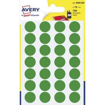 Pastilles adhésives Avery - diamètre 15 mm - pour écriture manuelle - vert - sachet de 168