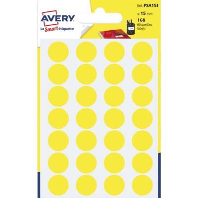 Pastilles adhésives Avery - diamètre 15 mm - pour écriture manuelle - jaune - sachet de 168