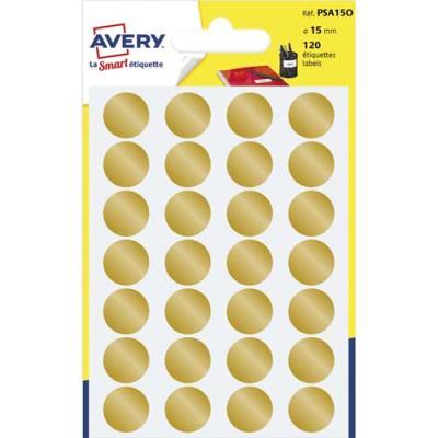 Pastilles adhésives Avery - diamètre 15 mm - pour écriture manuelle - or - sachet de 120