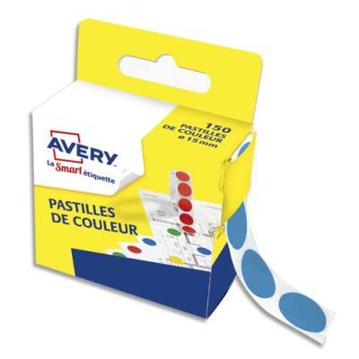 Pastilles adhésives Avery - diamètre 15 mm - pour écriture manuelle - bleu - boîte de 150