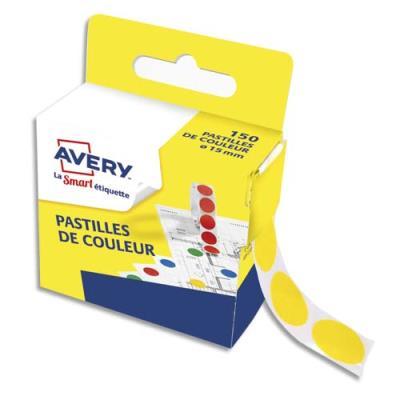 Pastilles adhésives Avery - diamètre 15 mm - pour écriture manuelle - jaune - boîte distributrice de 150