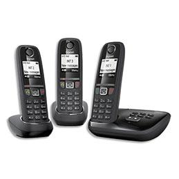Téléphone Gigaset AS470 - avec répondeur - noir - trio (photo)