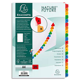 Intercalaire alphabétique Exacompta - carte blanche 170g - A4 (photo)