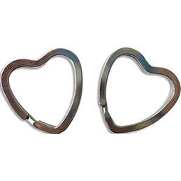 Sachet de 10 porte-clefs nickelés format cœur (photo)