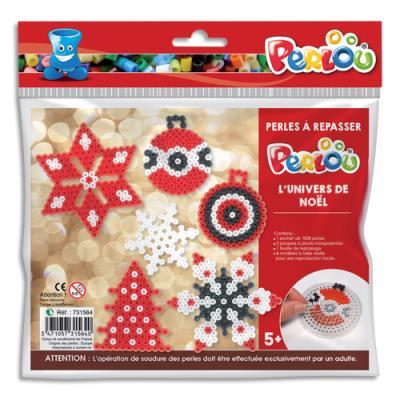 Kit d'activité perles à repasser, 1000 perles assorties, 1 plaque, 5 modèles, thèmes Noël (photo)