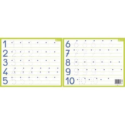 Ardoise blanche effaçable à sec format 21 x 26,5cm, avec les chiffres de 1 à 10 (photo)