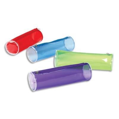 Trousse ronde Viquel Propyglass - 22 x 7 x 7cm - PVC assortis transparent rouge, bleu, vert, violet