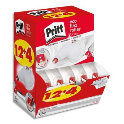 Rollers de correction Pritt Compact Flex - 4,2 mm x 10 m - application latérale - boîte Ecopack 12+4