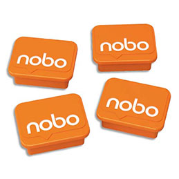 Aimants Nobo - pour tableau blanc ou verre magéntique - orange - paquet de 4 (photo)