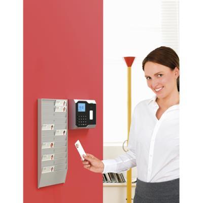 Porte-badges Paperflow - polystyrène - format carte bancaire - L19,9 x H37,5 x P 2,5 cm - 24 cases - gris