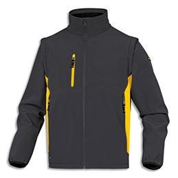 Veste Delta Plus Mysen2 D-Match - polyester et élasthane - 5 poches - manches amovibles - L  - gris/jaune