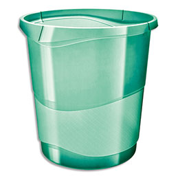 Corbeille à papier Esselte Colour'Ice - 14 L - L28,5 x H30,5 x P32,5 cm - vert (photo)