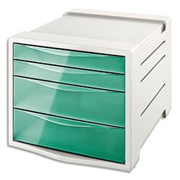 Bloc de classement Esselte Colour'Ice - 14 L - L24,5 x H36,5 x P28,5 cm - 4 tiroirs - vert (photo)