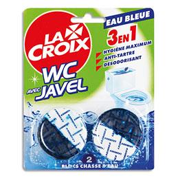 Blocs de WC Lacroix 3 en 1 - hygiène, anti-tartre et désodorisant - eau bleue - blister de 2 blocs (photo)