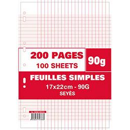 Pages feuillets mobiles - 17x22 - grands carreaux - 90g - perforées - sachet de 200