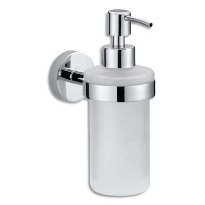 Distributeur savon Tesa - en métal chromé et verre - 200 ml - L17 x H7 x P12,6 cm - fixation fournies (photo)