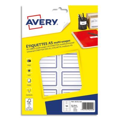 Etiquettes scolaires Avery - lignées bleu - 36 x 56 mm - sachet de 120