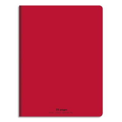 Cahier éco - piqué - couverture polypro - 32 pages - 17x22 cm - 90g - grands carreaux - rouge (photo)