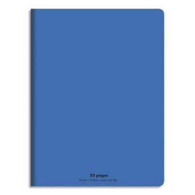 Cahier éco - piqué - couverture polypro - 32 pages - 17x22 cm - 90g - grands carreaux - bleu (photo)