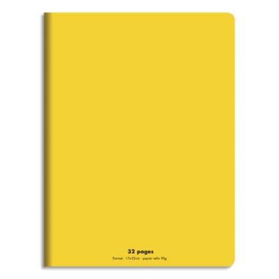 Cahier éco - piqué - couverture polypro - 32 pages - 17x22 cm - grands carreaux - jaune (photo)
