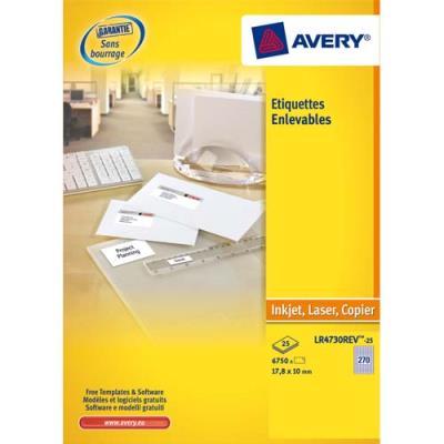 Boîte de 300 étiquettes enlevables Avery - Format 99.1x42.3 mm - Impression laser - L4743 (photo)