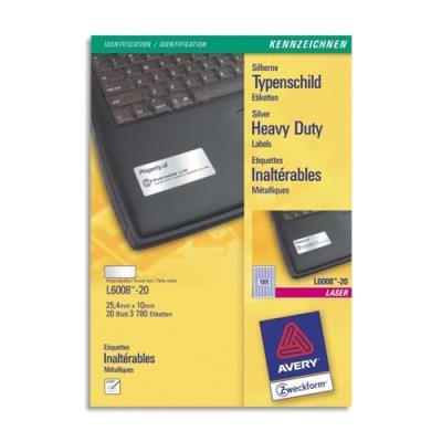 Boîte de 3780 étiquettes Avery - Métalliques - Impression Laser - 25.4x10 mm - L6008 (photo)
