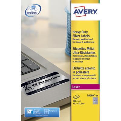 Etiquettes Avery L6009 - métalliques - impression laser - 45.7 x 21.2mm - boîte de 960