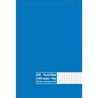 Bloc 1er prix - agrafé en tête - 60 g - A5 14,8 x 21 cm - 5x5 - 200 pages (photo)