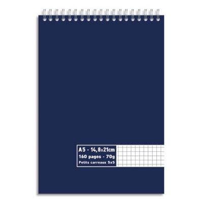 Bloc 1er prix - spirale en tête - 70 g - A5 14,8 x 21 cm - 5x5 - 160 pages (photo)