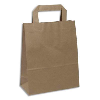 Sacs papier kraft - 70 g capacité 8 kg - poignées plates - L22 x H28 x P11 cm - brun - paquet de 250 (photo)