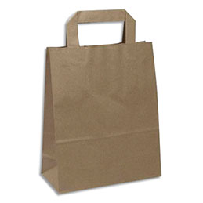Sacs papier kraft - 80 g capacité 10 kg - poignées plates - L26 x H32 x P14 cm - brun - paquet de 250 (photo)