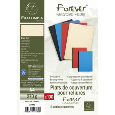 Plats de couvertures Exacompta Forever - 270 g - A4 - grain cuir - certifié Ange Bleu - paquet de 100 25 x bleu, noir, ivoire, srouge