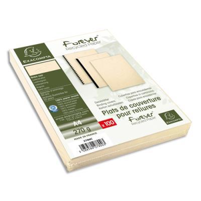 Plats de couvertures rigides Exacompta Forever - 270 g - A4 - grain cuir - certifié Ange Bleu - ivoire - paquet de 100
