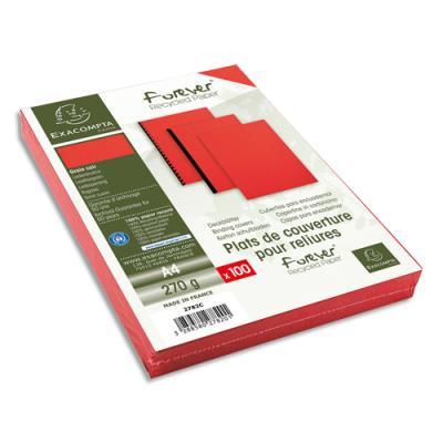 Plats de couvertures rigides Exacompta Forever - 270 g - A4 - grain cuir - certifié Ange Bleu - rouge - paquet de 100