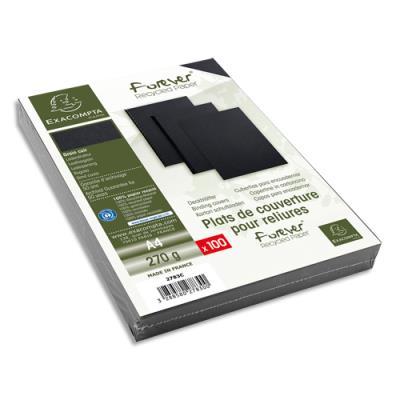 Plats de couvertures rigides Exacompta Forever - 270 g - A4 - grain cuir -certifié Ange Bleu - noir - paquet de 100