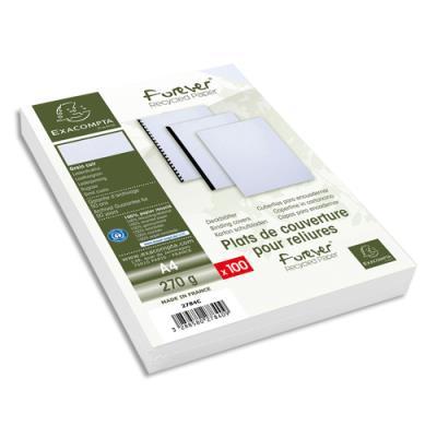 Plats de couvertures rigides Exacompta Forever - 270 g - A4 - grain cuir - certifié Ange Bleu - blanc - paquet de 100