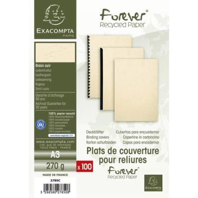 Plats de couvertures rigides Exacompta Forever - 270 g - A3 - grain cuir - certifié Ange Bleu - blanc - paquet de 100