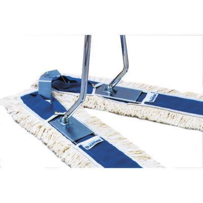 Balai ciseaux Brosserie Thomas Complet pro - 2 x 1 mètre - monture et manche en métal - bleu + franges coton