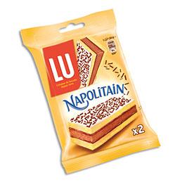 Sachet de gâteaux LU Napolitain - 30 g - 2 gâteaux - fourrage au chocolat - paquet de 24 (photo)