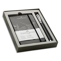 Stylo roller Faber Castell Ambition - résine noire - carnet noir offert